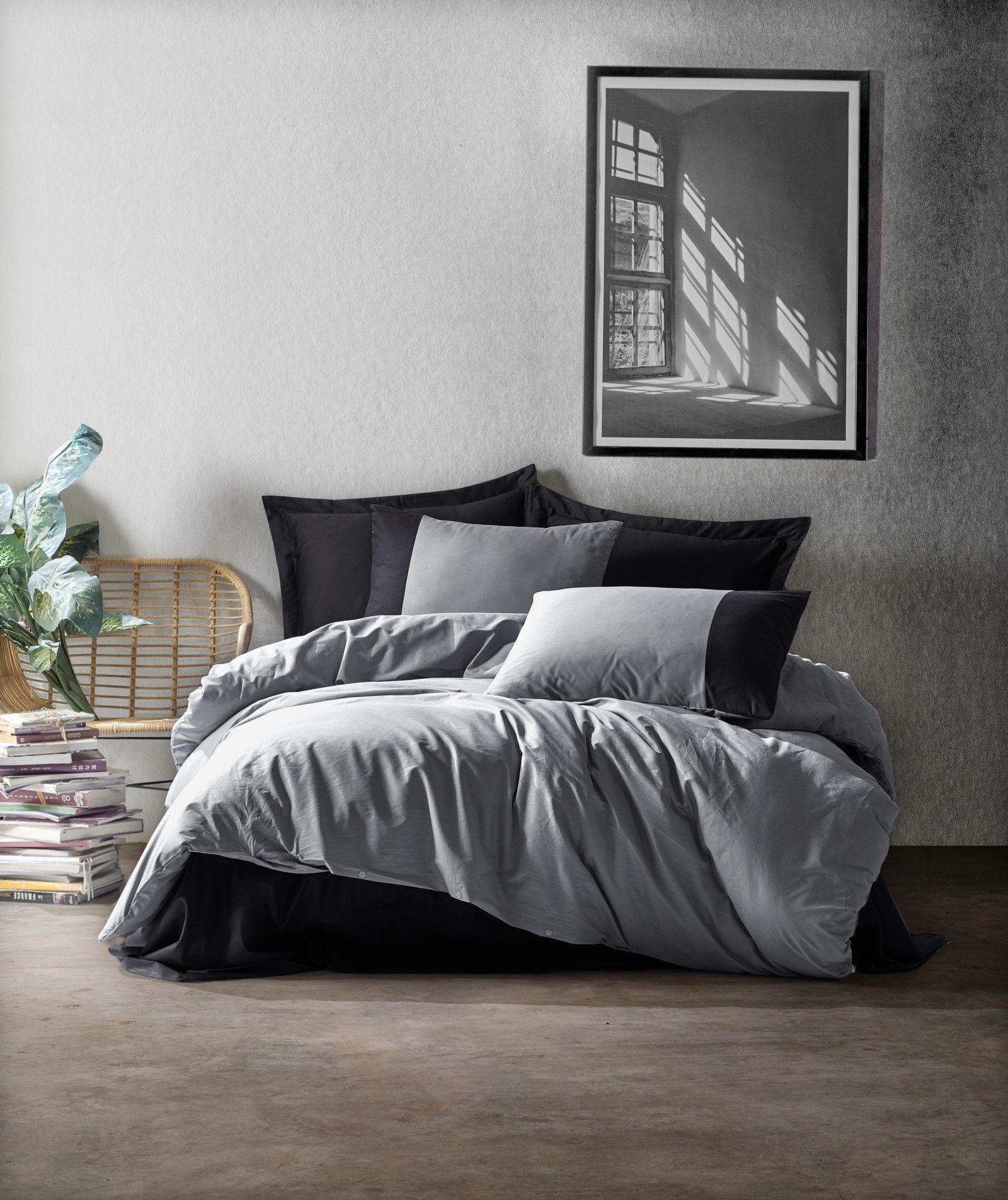 Lenjerie de pat din bumbac Ranforce, Plain 692 Gri / Negru, 200 x 220 cm imagine