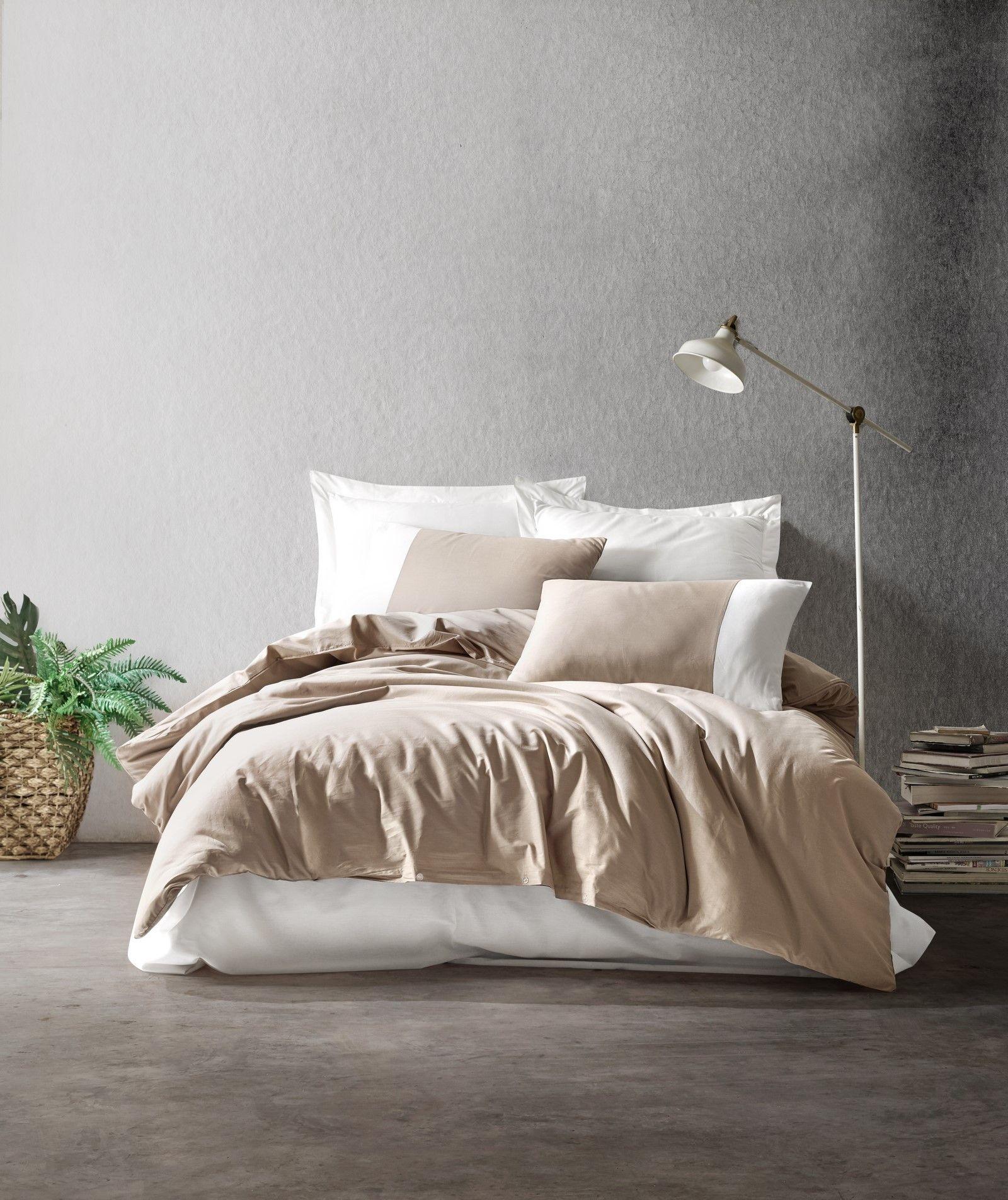 Lenjerie de pat din bumbac Ranforce, Plain 695 Bej / Crem, 200 x 220 cm