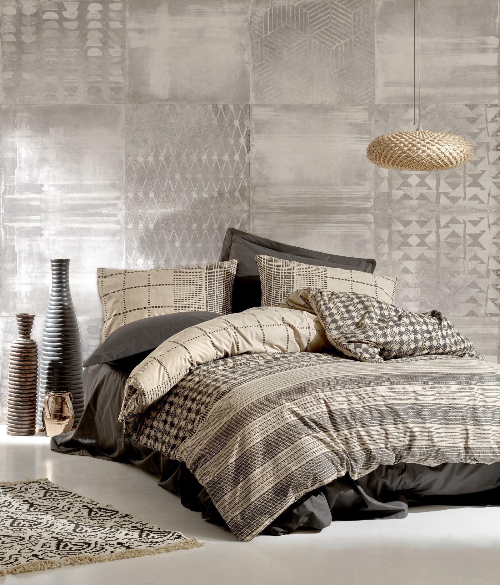 Lenjerie de pat din bumbac Ranforce, Rina Antracit / Bej, 200 x 220 cm