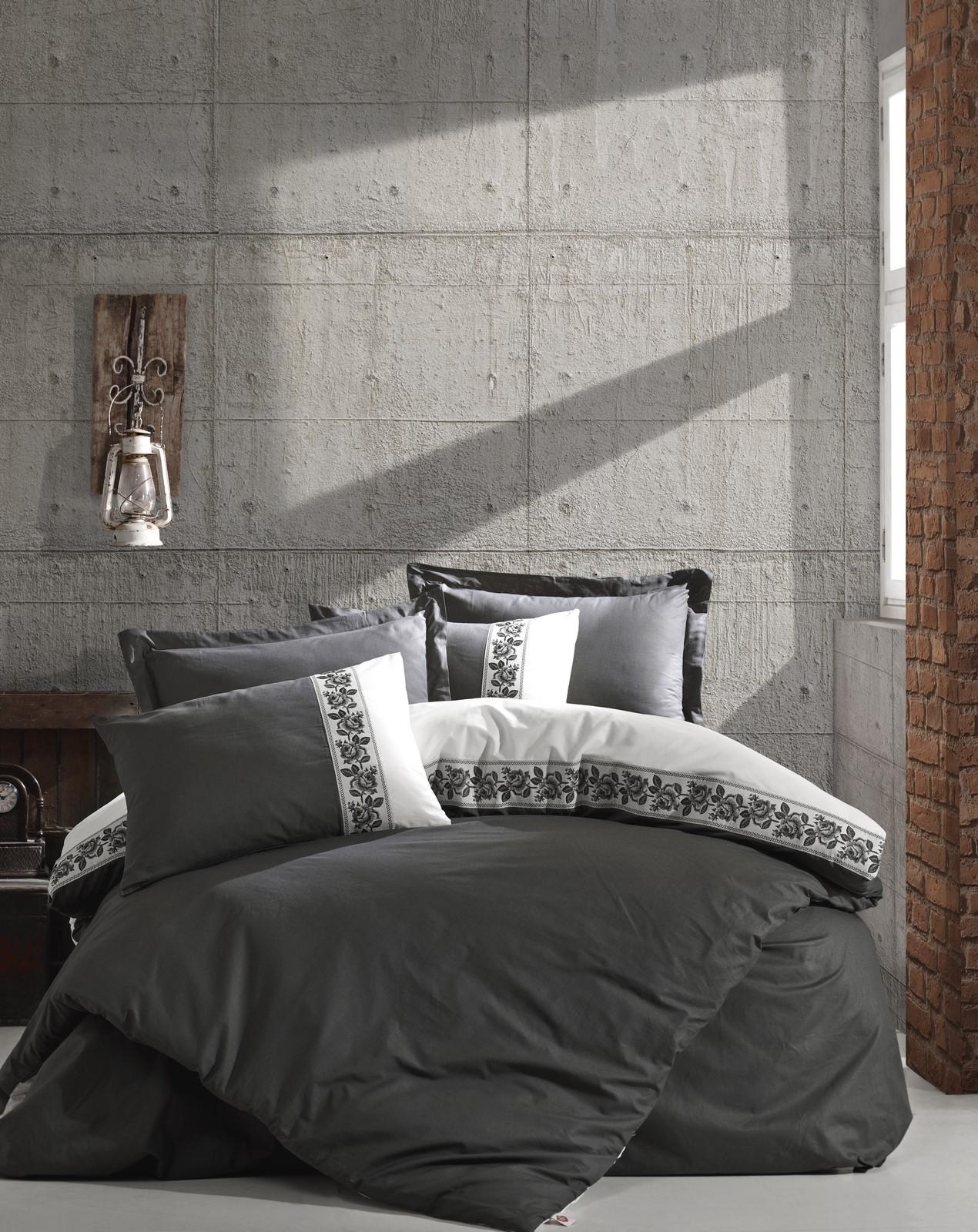 Lenjerie de pat din bumbac Ranforce, Rosinda Gri Inchis / Crem, 200 x 220 cm imagine