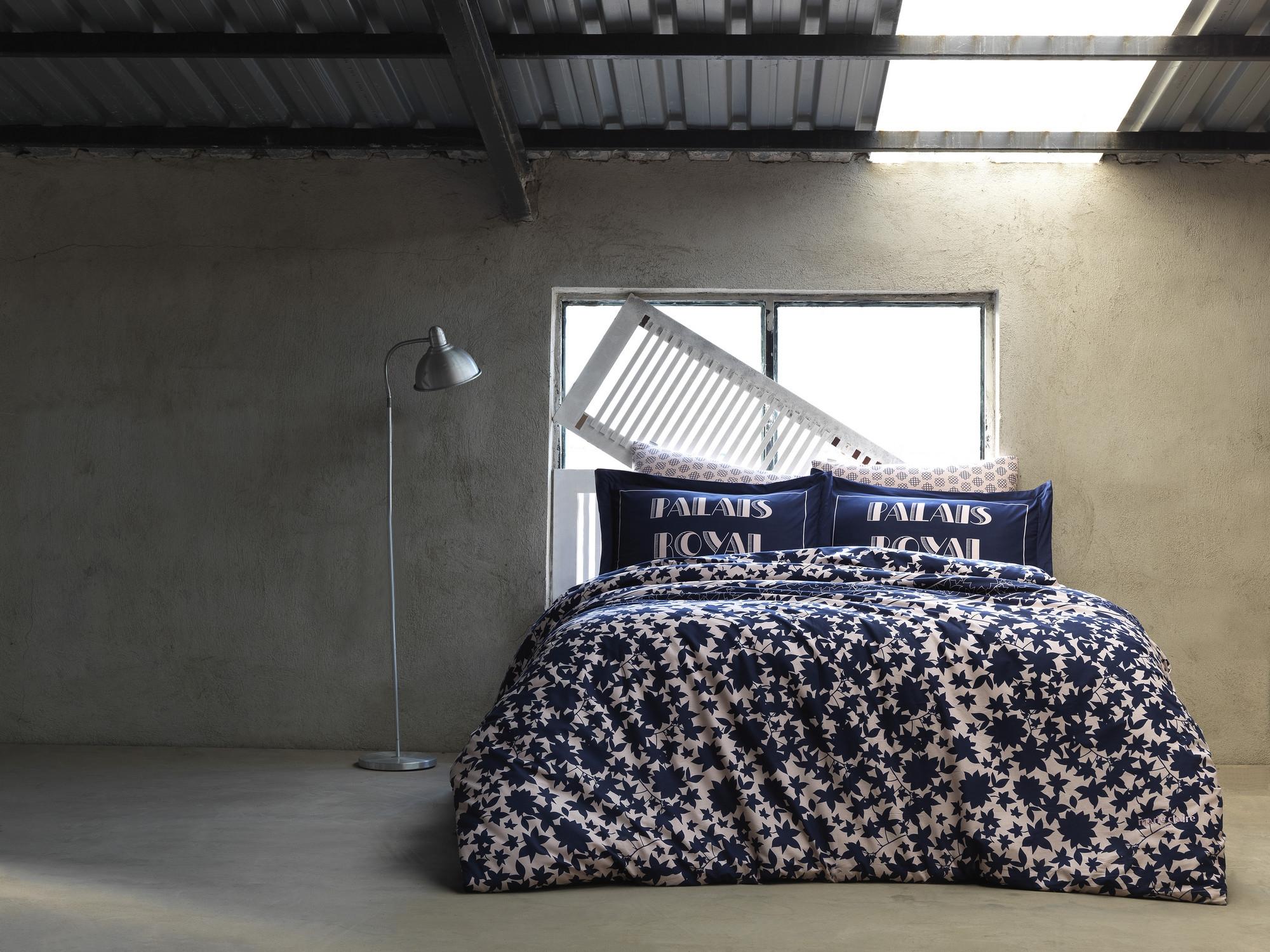 Lenjerie de pat din bumbac Ranforce, Royal Bleumarin / Crem, 200 x 220 cm