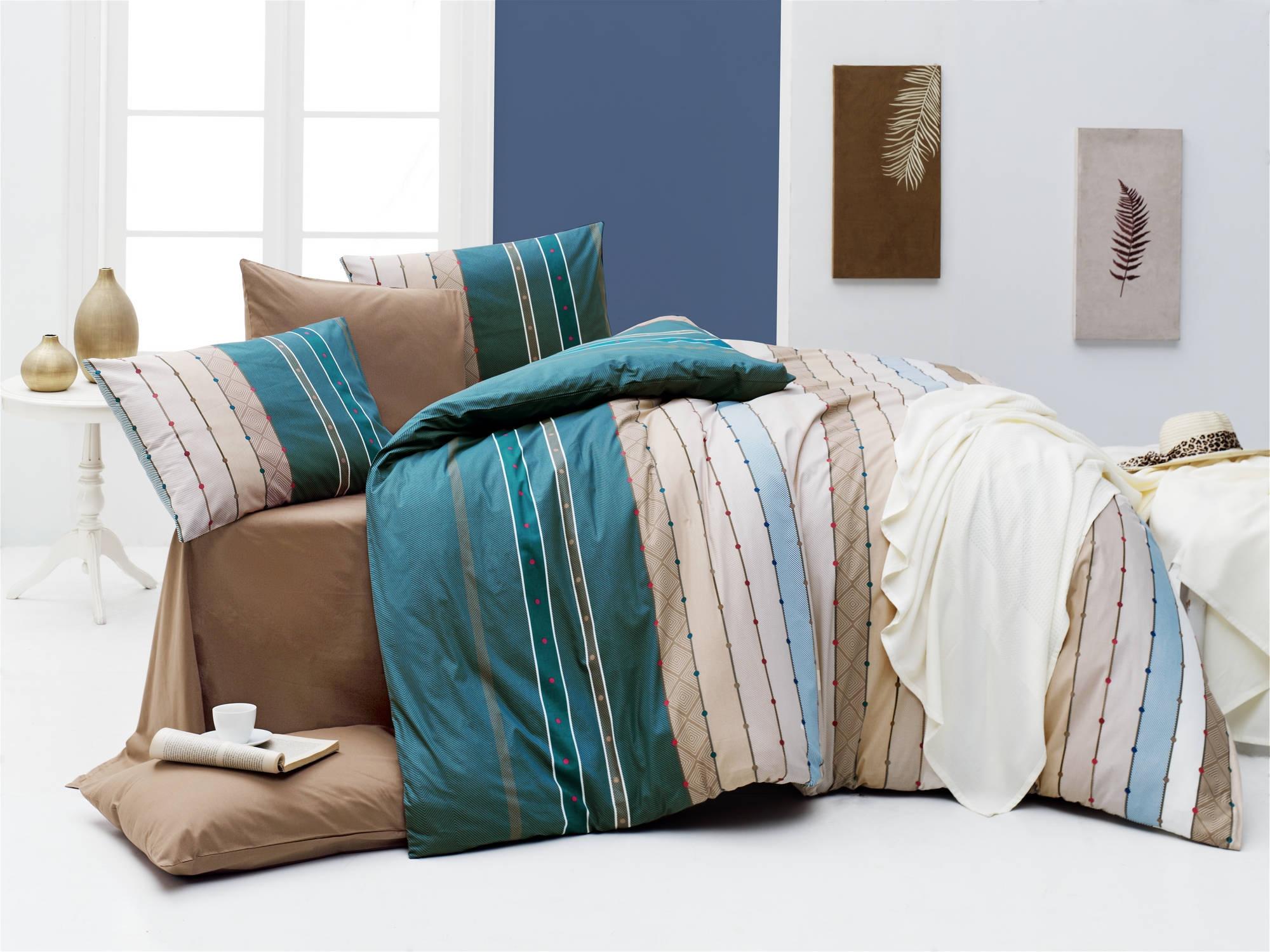 Lenjerie de pat din bumbac Ranforce, Ruling Multicolor, 200 x 220 cm