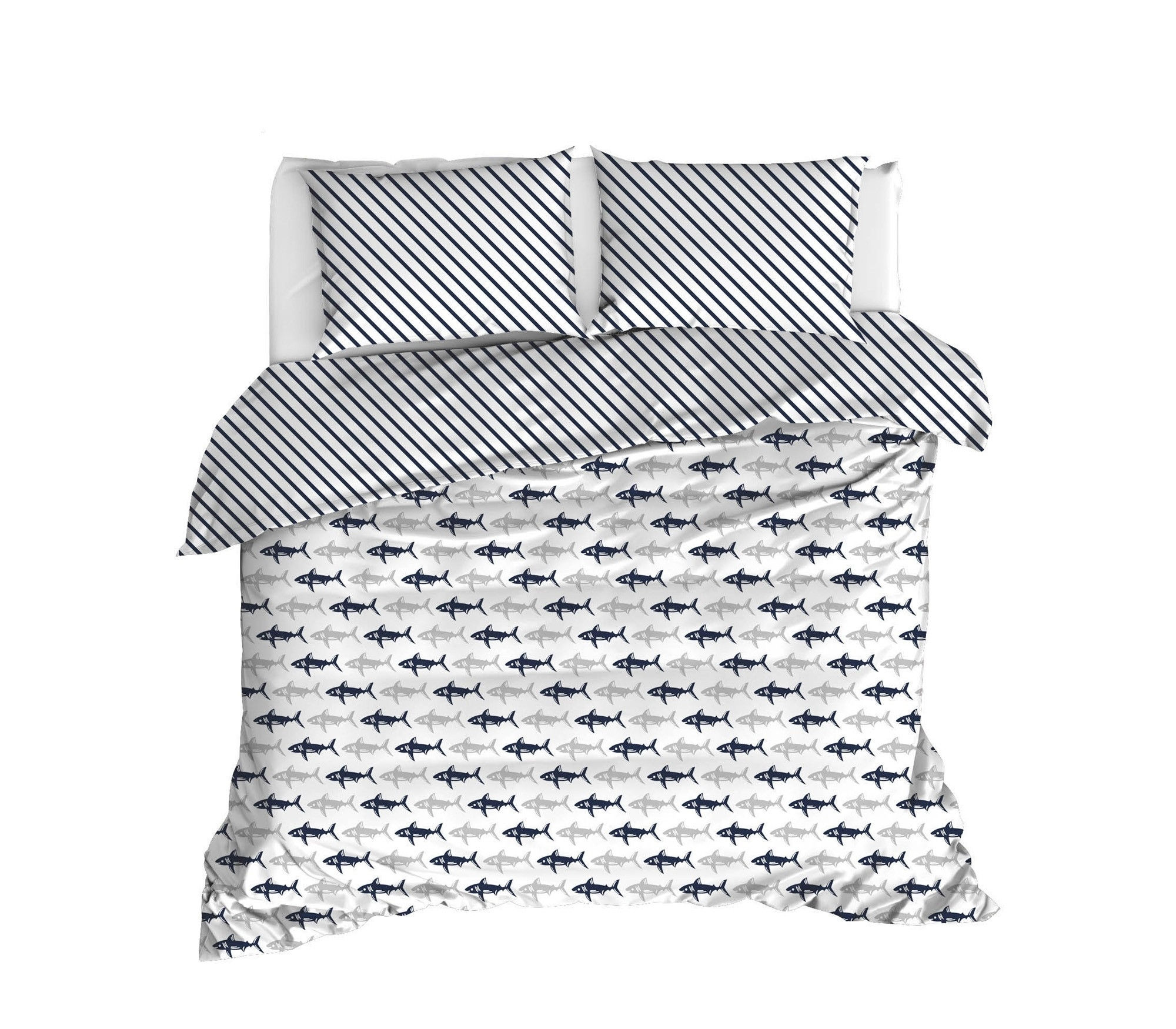Lenjerie de pat din bumbac Ranforce Shark Bleumarin / Alb, 200 x 220 cm imagine