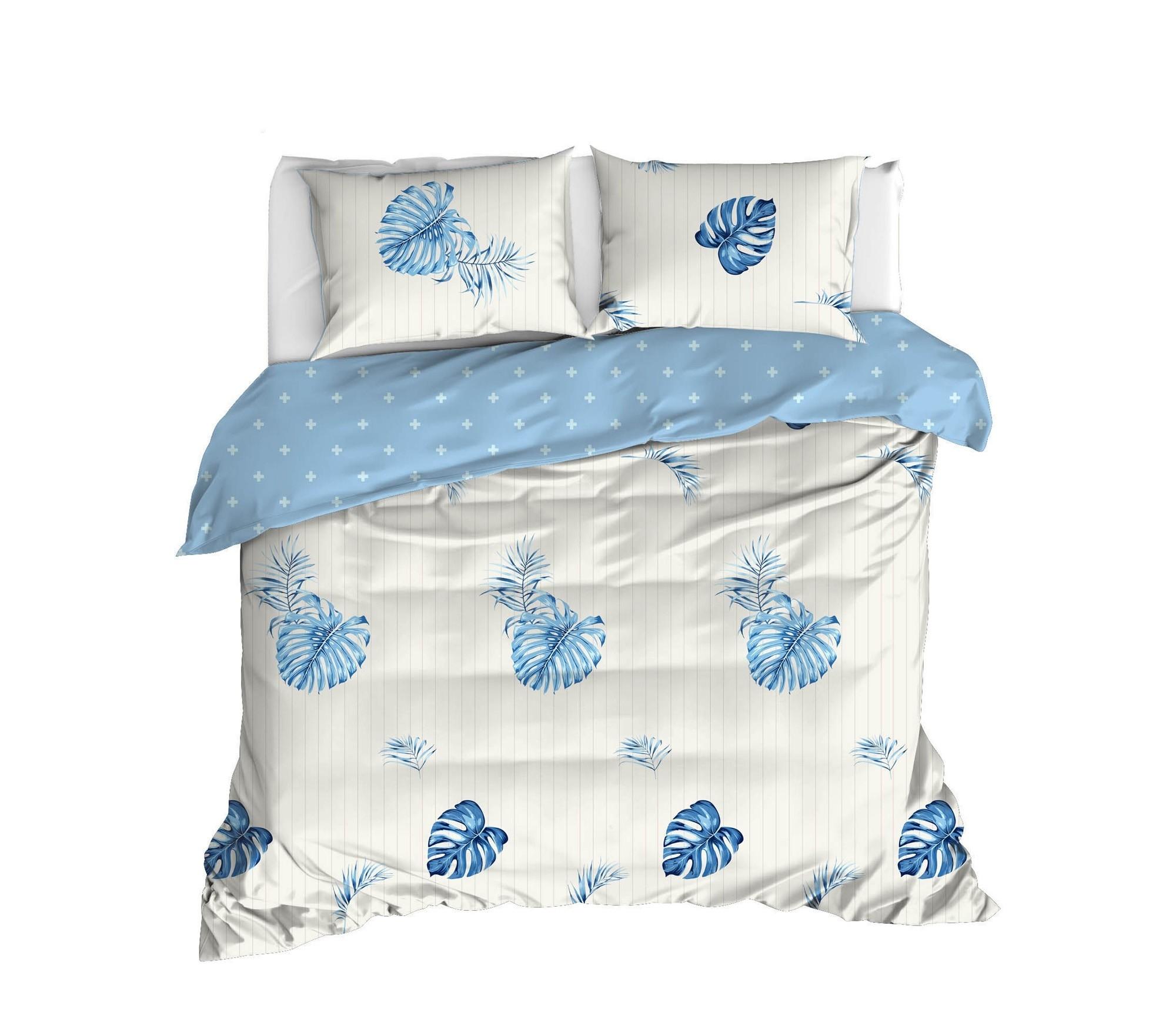 Lenjerie de pat din bumbac Ranforce Terezie Alb / Albastru, 200 x 220 cm
