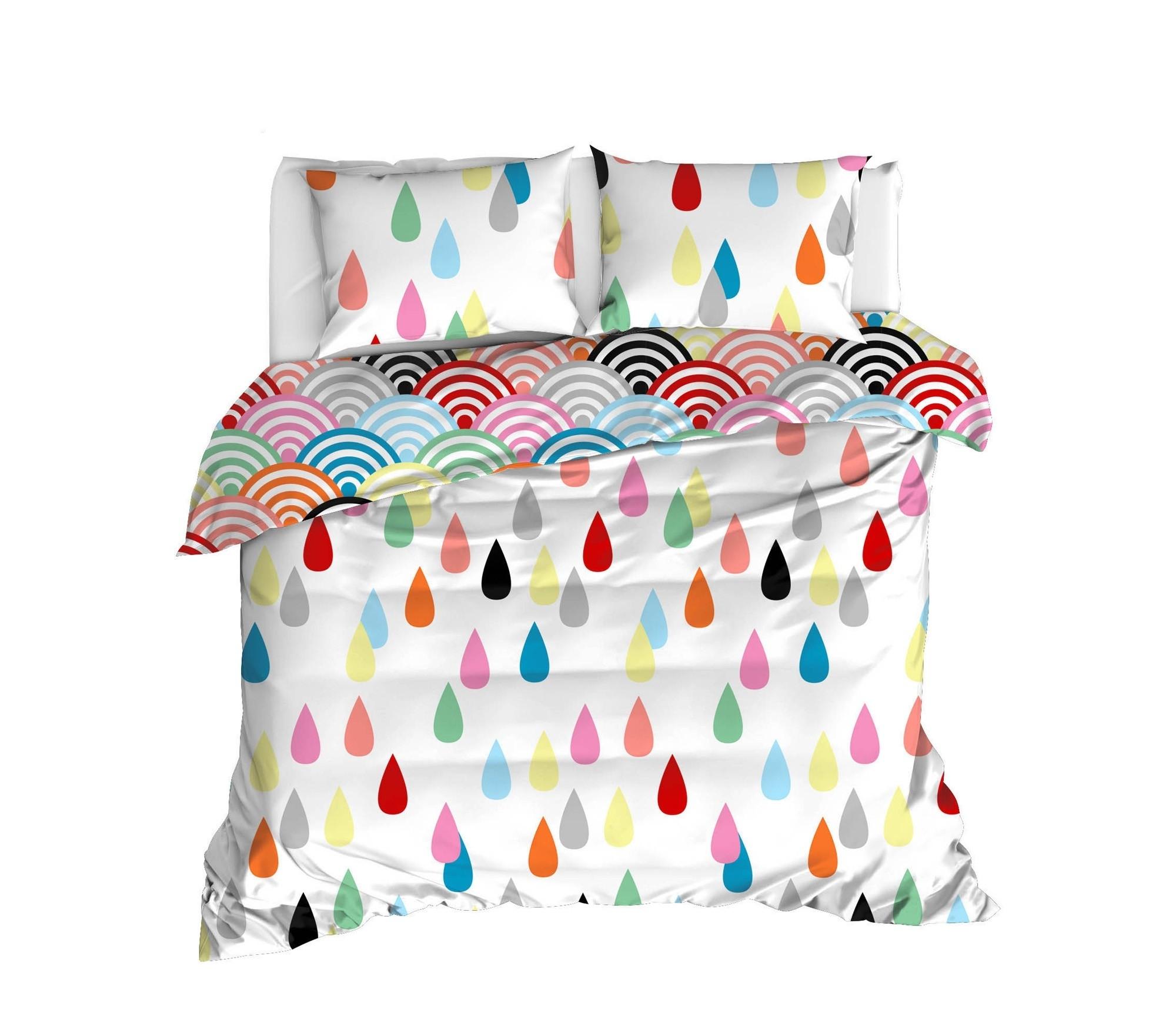 Lenjerie de pat din bumbac Ranforce Vendula Multicolor, 200 x 220 cm imagine