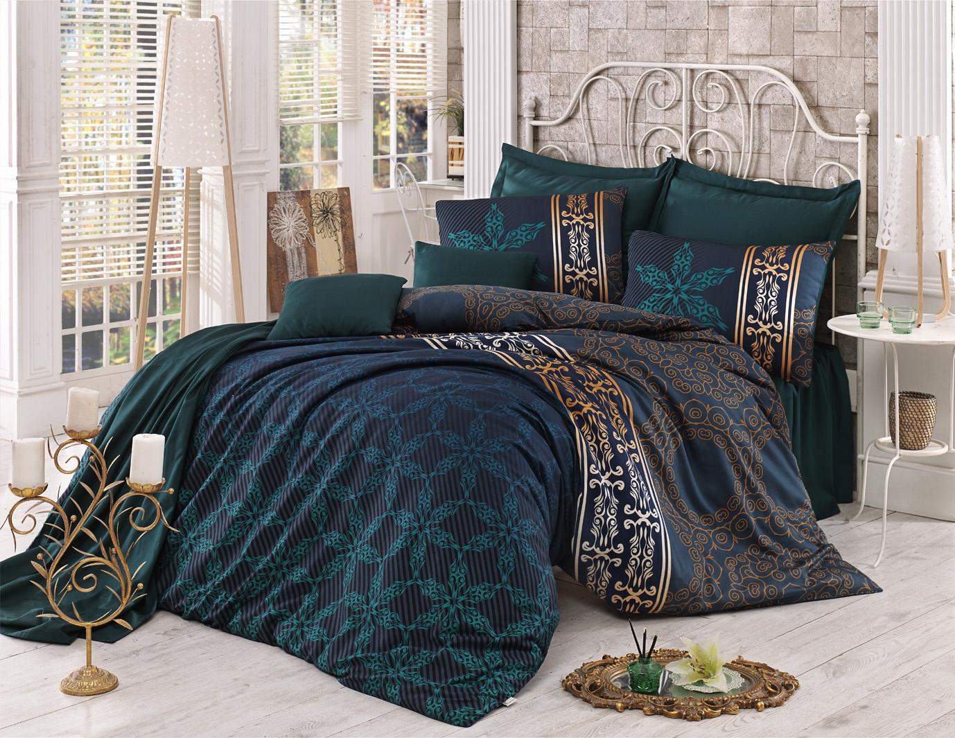 Lenjerie de pat din bumbac Satinat Alisa Verde Inchis / Mustariu, 200 x 220 cm imagine