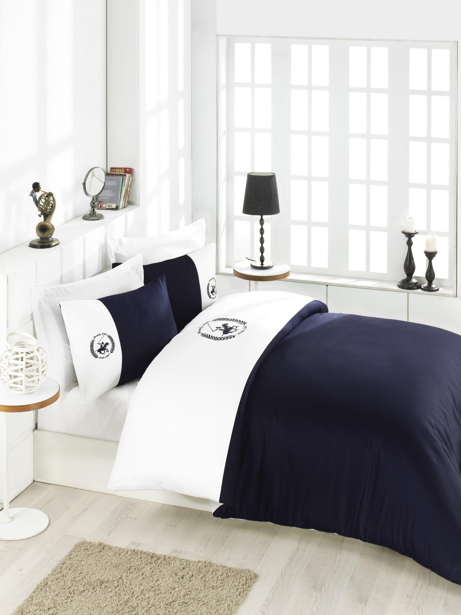 Lenjerie de pat din bumbac Satinat BHPC 106 Bleumarin / Alb, 200 x 220 cm imagine