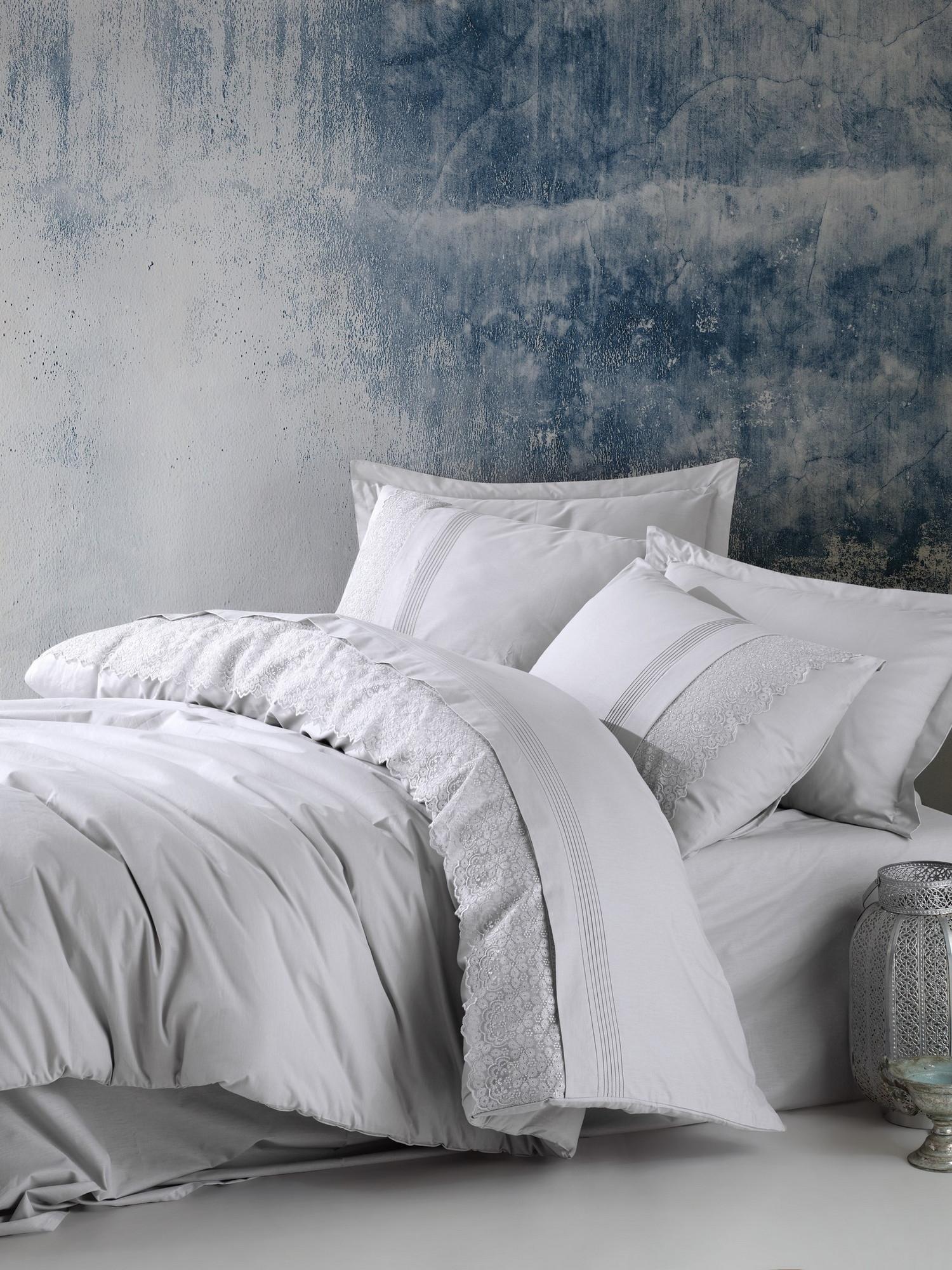 Lenjerie de pat din bumbac Ranforce Elba Gri, 200 x 220 cm imagine