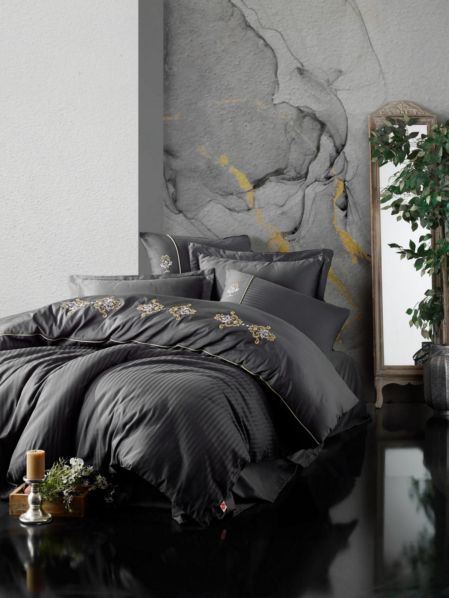 Lenjerie de pat din bumbac Satinat King Antracit / Galben, 200 x 220 cm imagine