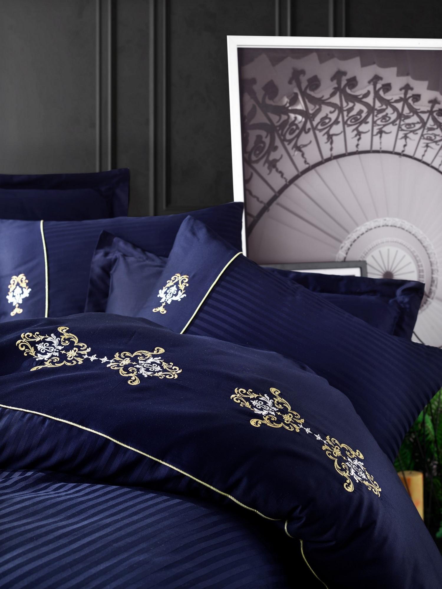 Lenjerie de pat din bumbac Satinat King Bleumarin / Galben, 200 x 220 cm imagine