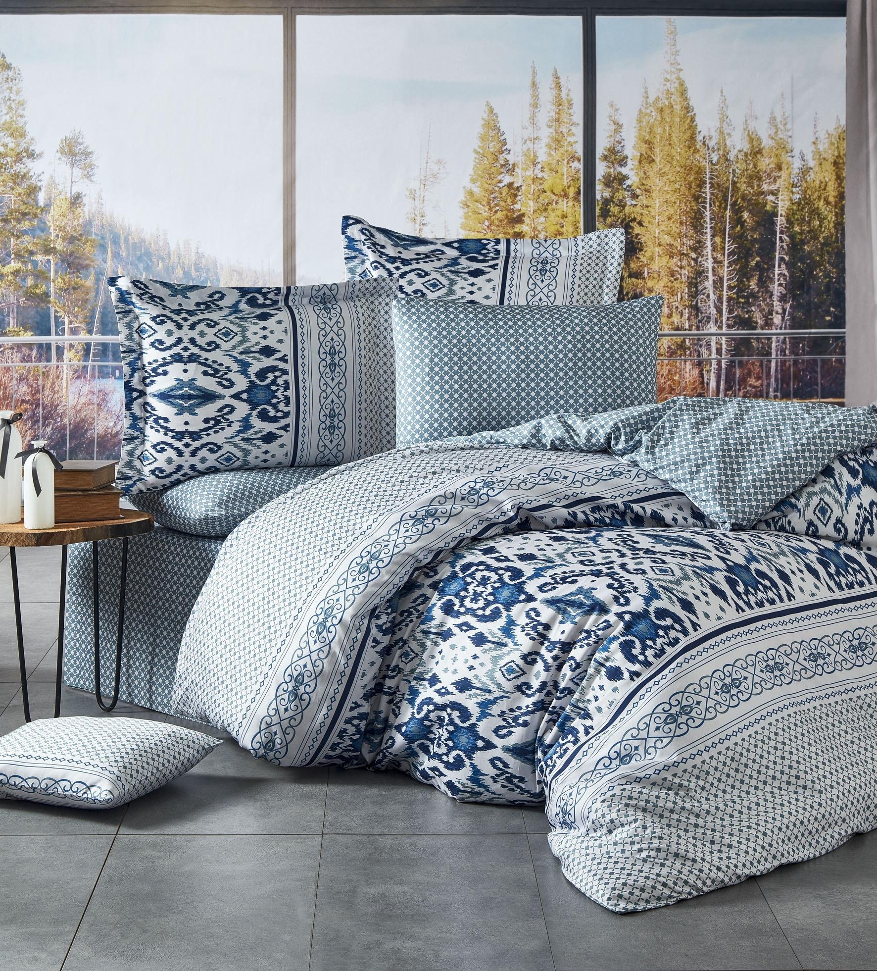 Lenjerie de pat din bumbac satinat Kirlow Albastru / Alb, 200 x 220 cm