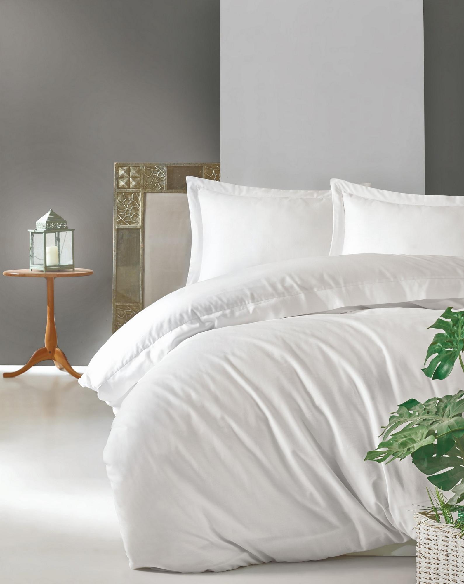 Lenjerie de pat din bumbac Satinat Premium Elegant Alb, 200 x 220 cm imagine