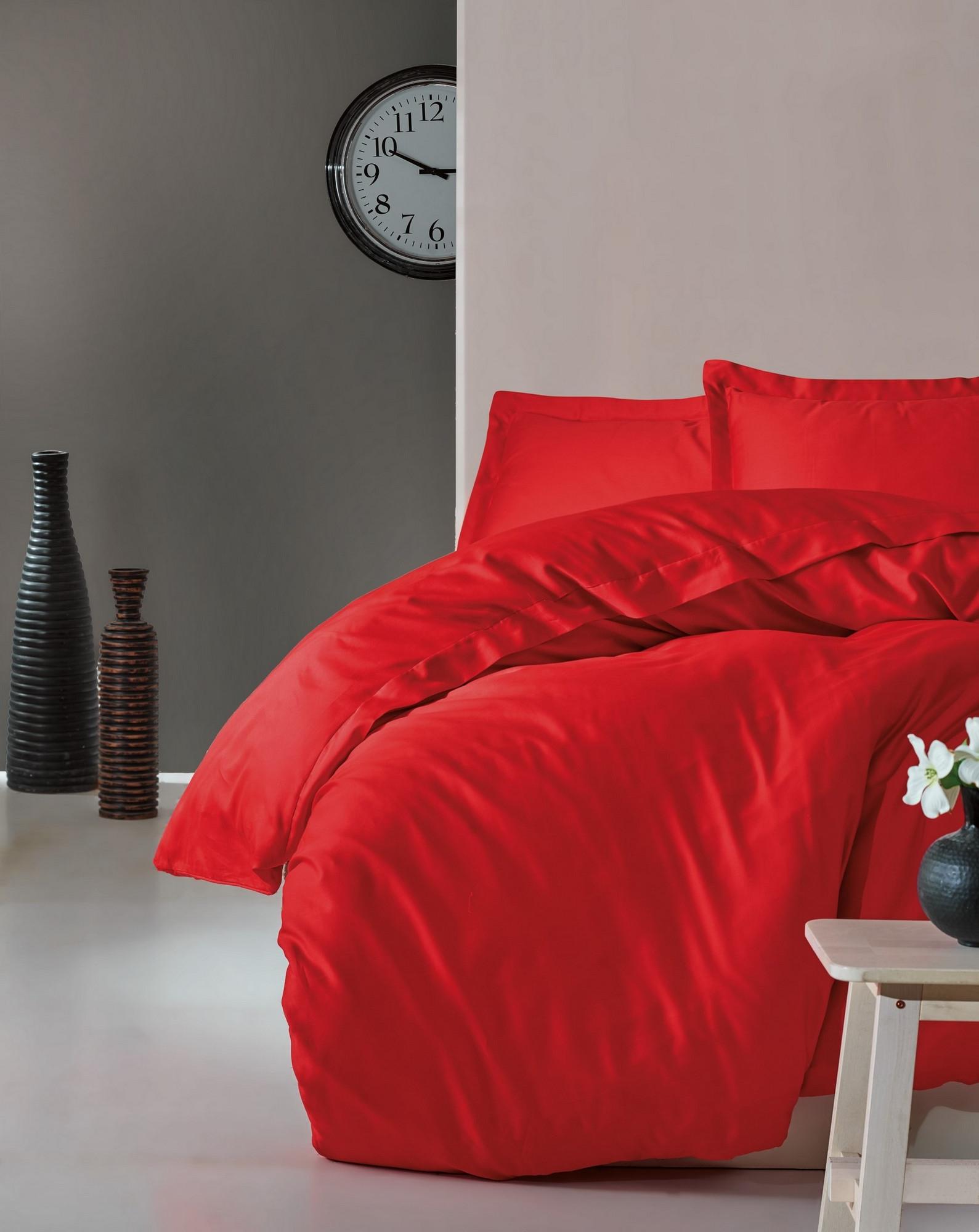 Lenjerie de pat din bumbac Satinat Premium Elegant Rosu, 200 x 220 cm imagine
