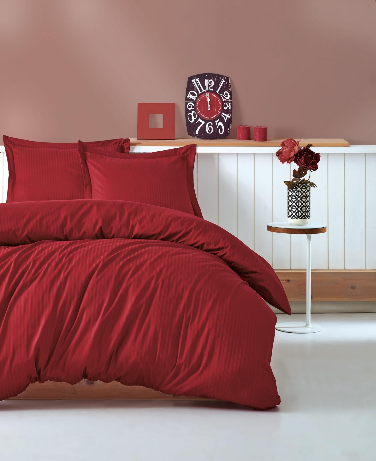 Lenjerie de pat din bumbac Satinat Premium Stripe Rosu Inchis, 200 x 220 cm imagine