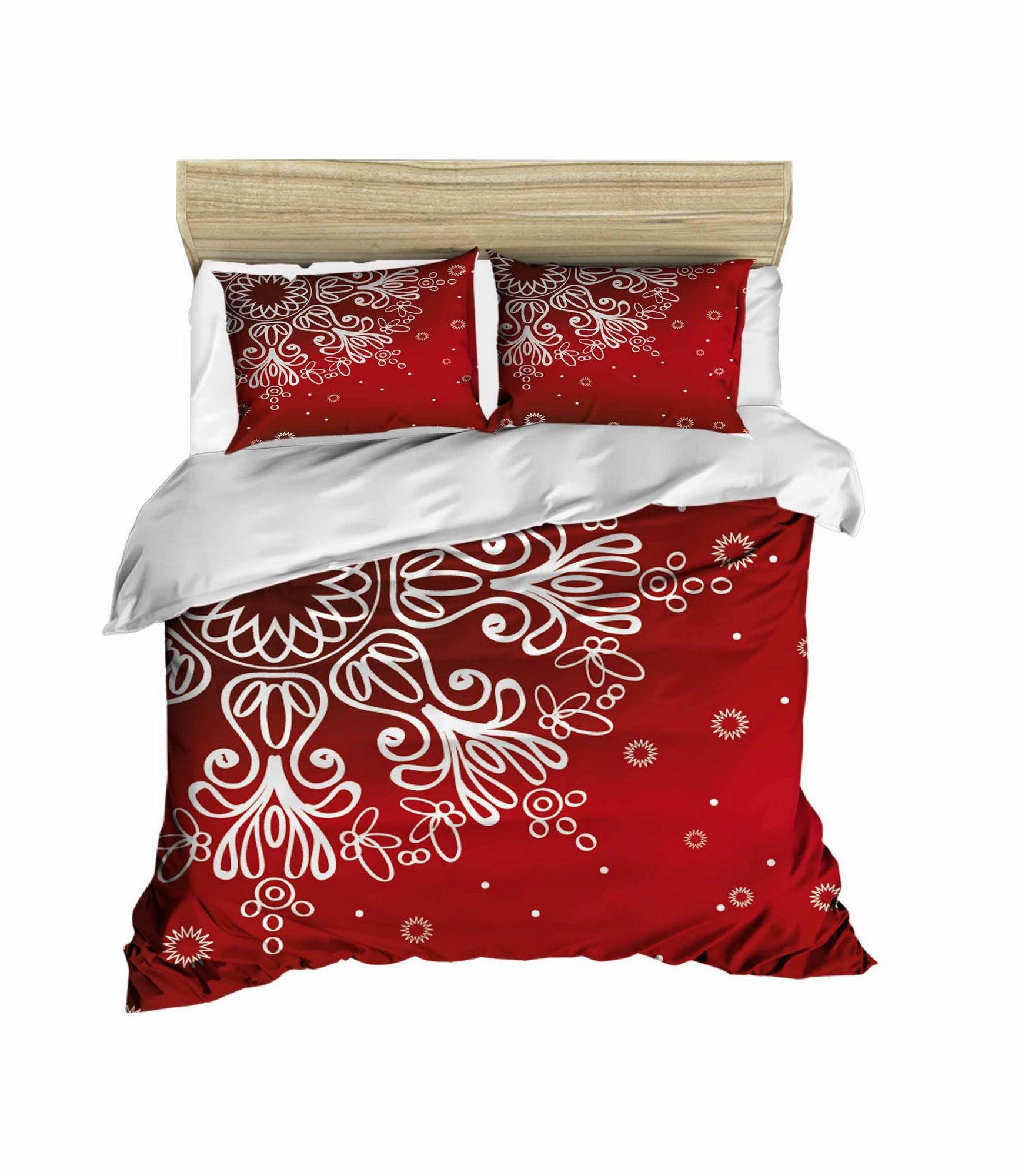 Lenjerie de pat din bumbac si microfibra Christmas 427 Rosu / Alb, 200 x 220 cm