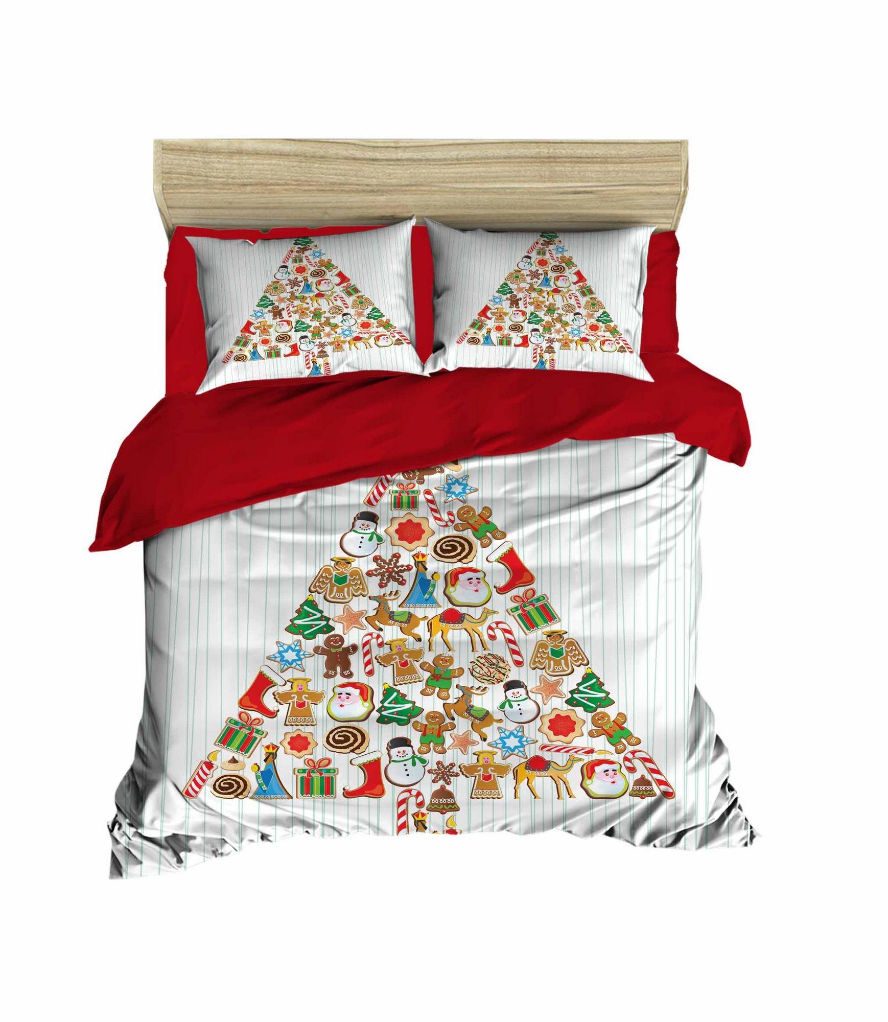 Lenjerie de pat din bumbac si microfibra Christmas 446 Multicolor, 200 x 220 cm imagine