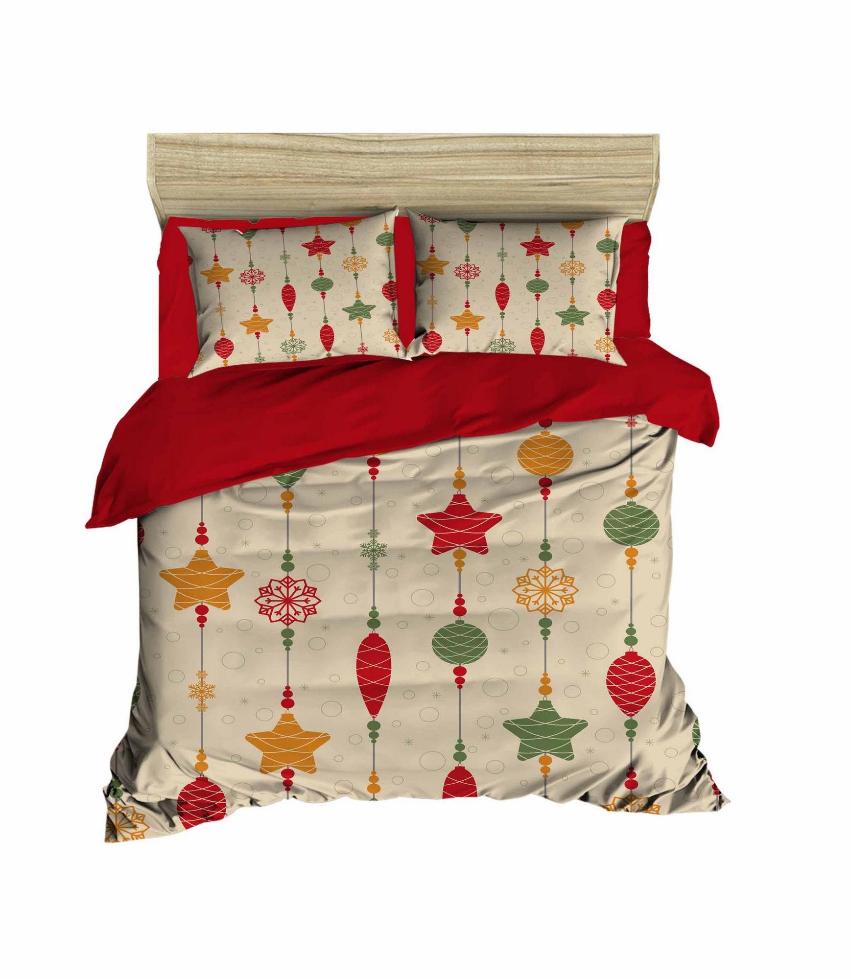 Lenjerie de pat din bumbac si microfibra Christmas 454 Multicolor, 200 x 220 cm