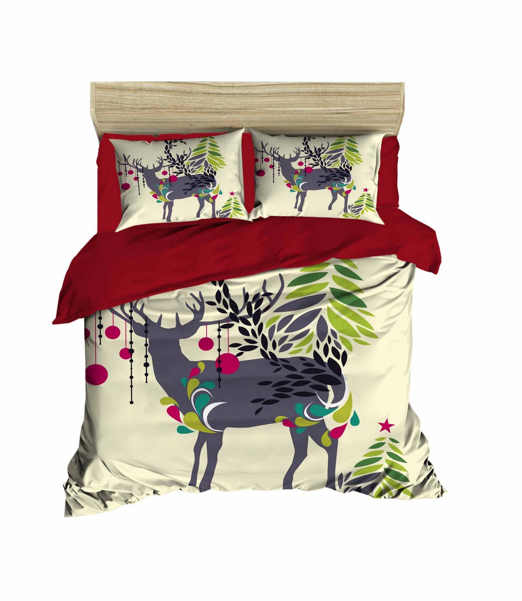 Lenjerie de pat din bumbac si microfibra Christmas 459 Multicolor, 200 x 220 cm