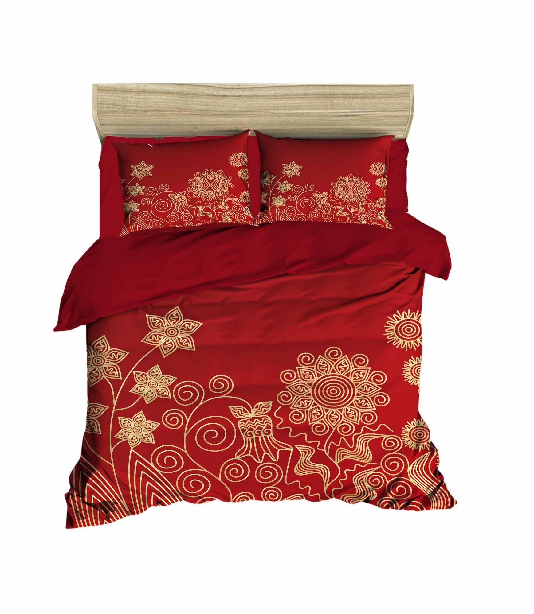 Lenjerie de pat din bumbac si microfibra Christmas 464 Rosu / Auriu, 200 x 220 cm