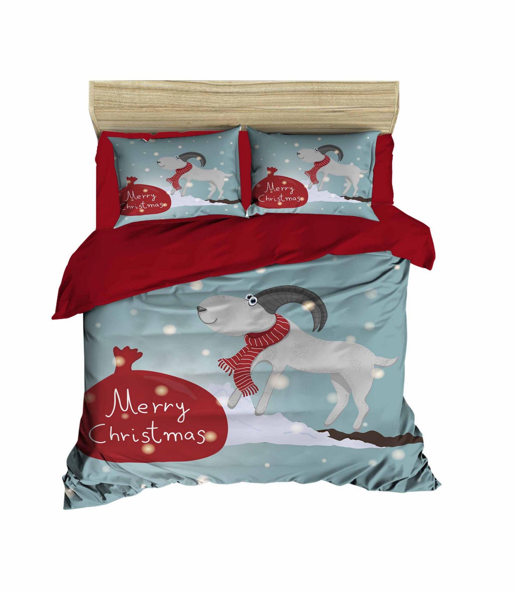 Lenjerie de pat din bumbac si microfibra Christmas 468 Multicolor, 200 x 220 cm