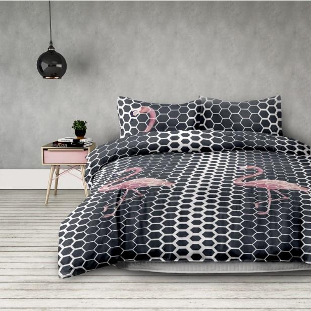 "Lenjerie de pat din microfibra si fata de perna 50 x 75 cm, Basic Flamingo"" Dark Grey / Pink"""