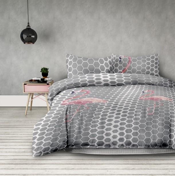 "Lenjerie de pat din microfibra si fata de perna 50 x 75 cm, Basic Flamingo"" Light Grey / Pink"""
