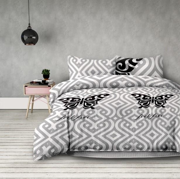 "Lenjerie de pat din microfibra si fata de perna 63 x 63 cm, Basic Feelfree"" White / Light Grey"""