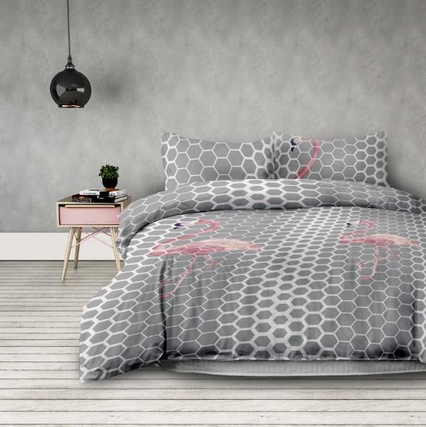 "Lenjerie de pat din microfibra si fata de perna 63 x 63 cm, Basic Flamingo"" Light Grey / Pink"""