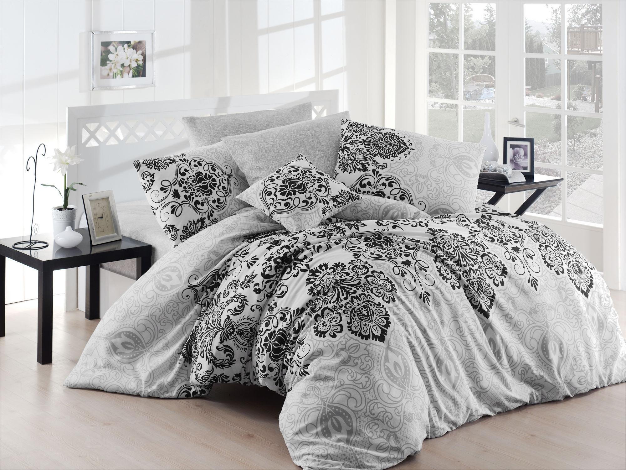 Lenjerie de pat Luxury Gri / Negru, 200 x 220 cm imagine