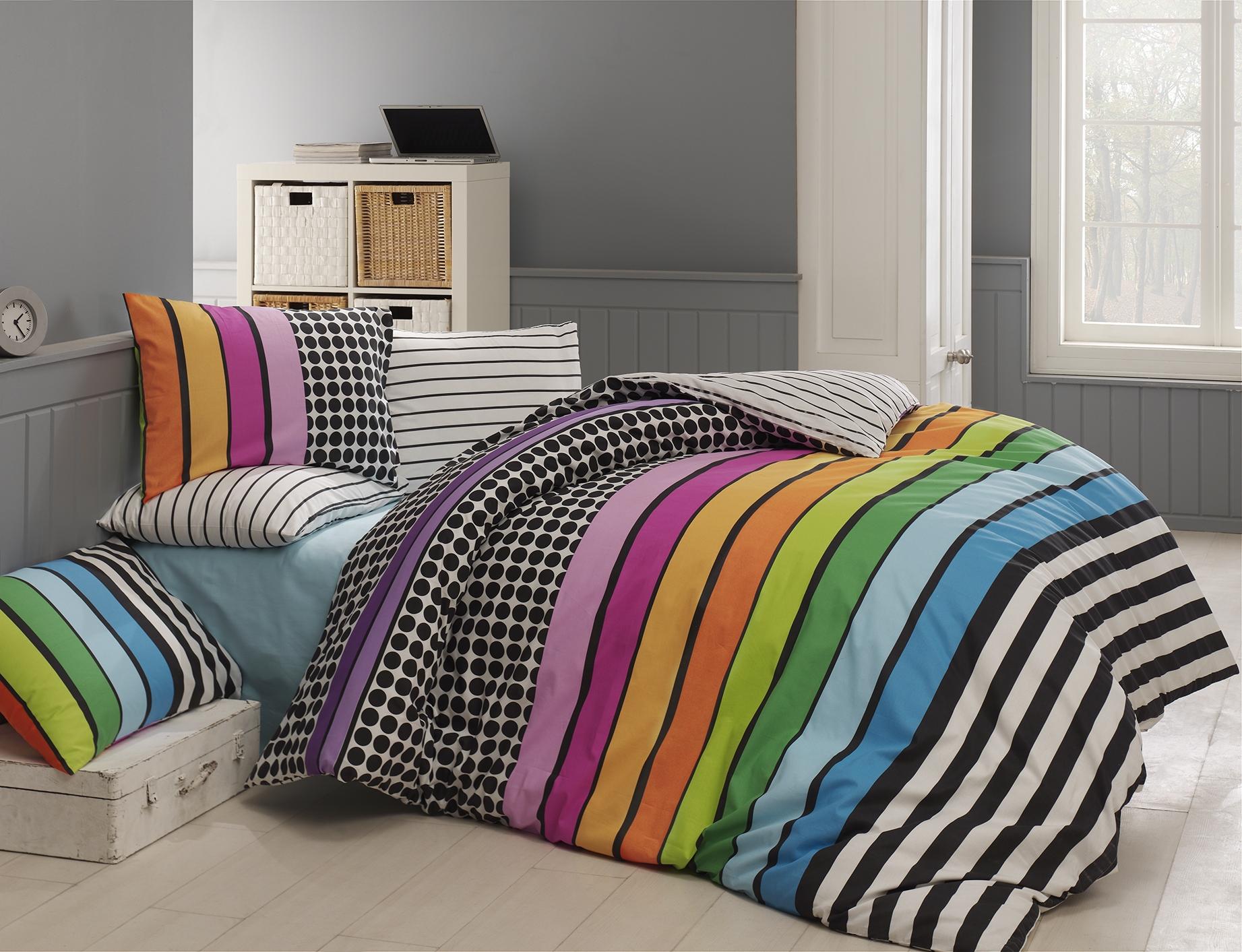 Lenjerie de pat Ranforce Colored V1 Multicolor-2 pers-200 x 220 cm