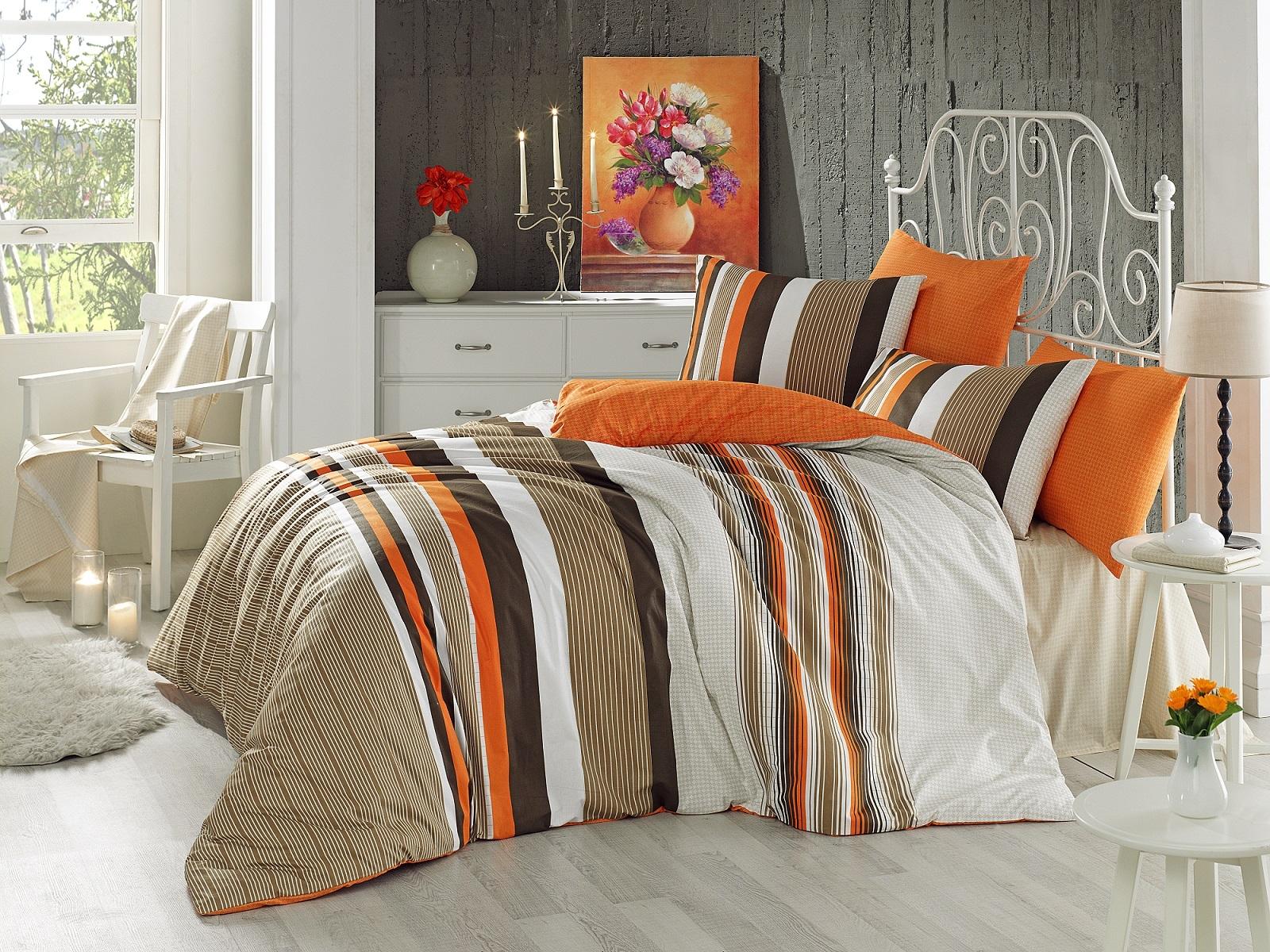 Lenjerie de pat Ranforce Touch V1 Orange-2 pers-200 x 220 cm-2 pers - 220 x 200 cm