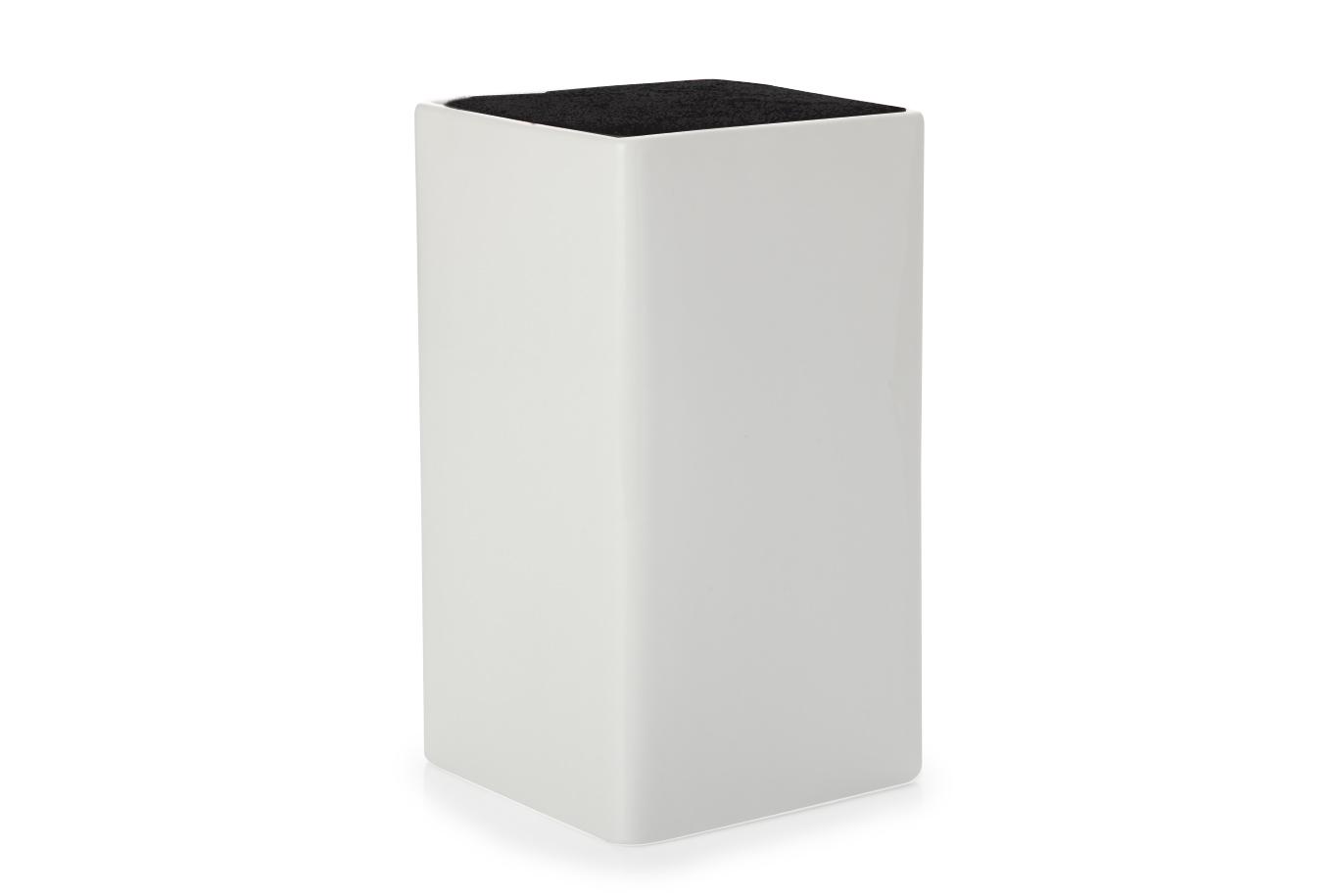 Suport pentru cutite White Basics Square Knife Block Alb/Negru, Portelan