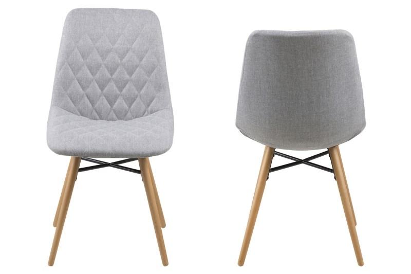 Set 2 scaune din lemn tapitate Lif Light Grey