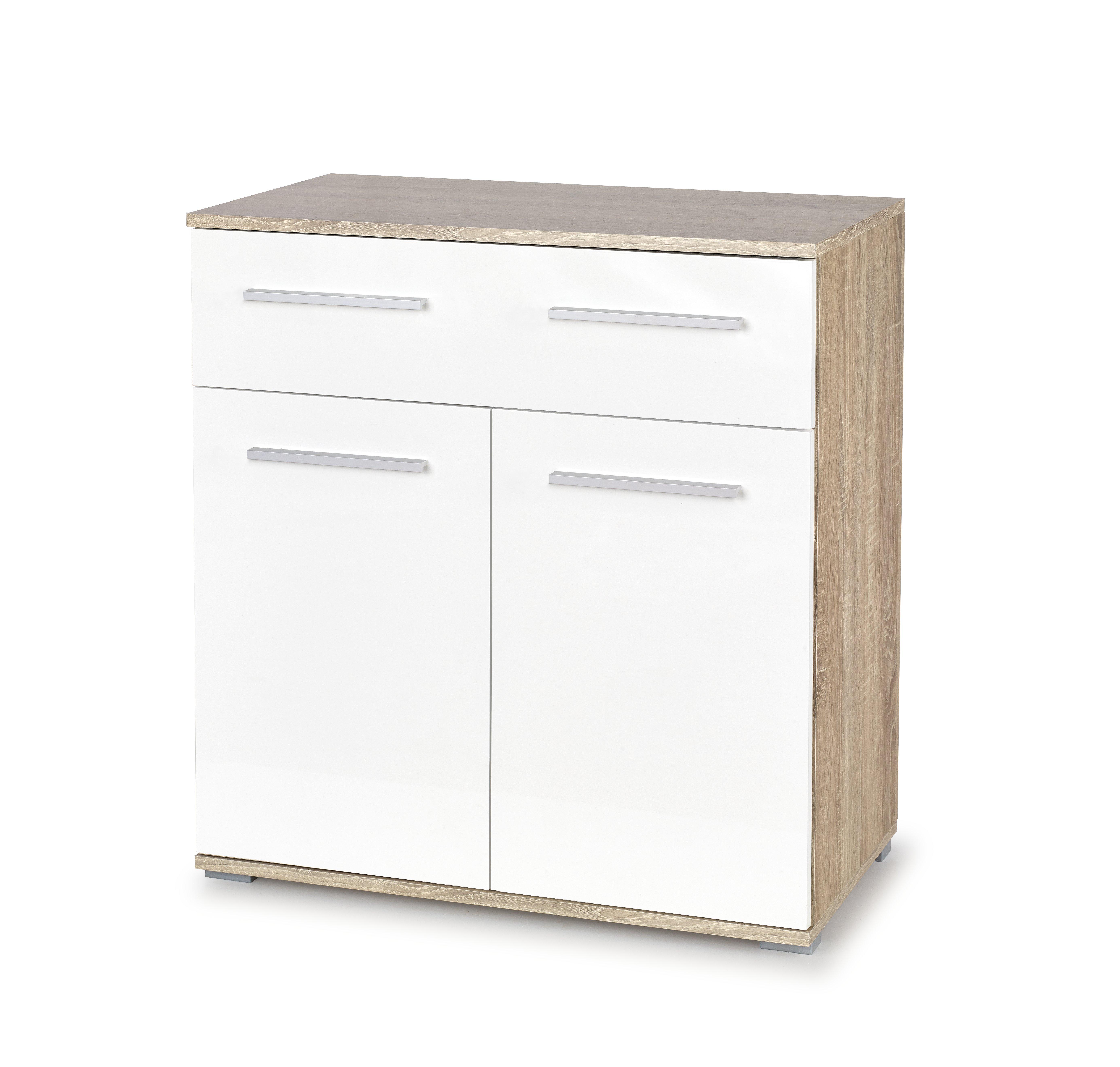 Comoda Lima KM-1 White / Oak l77xA40xH82 cm
