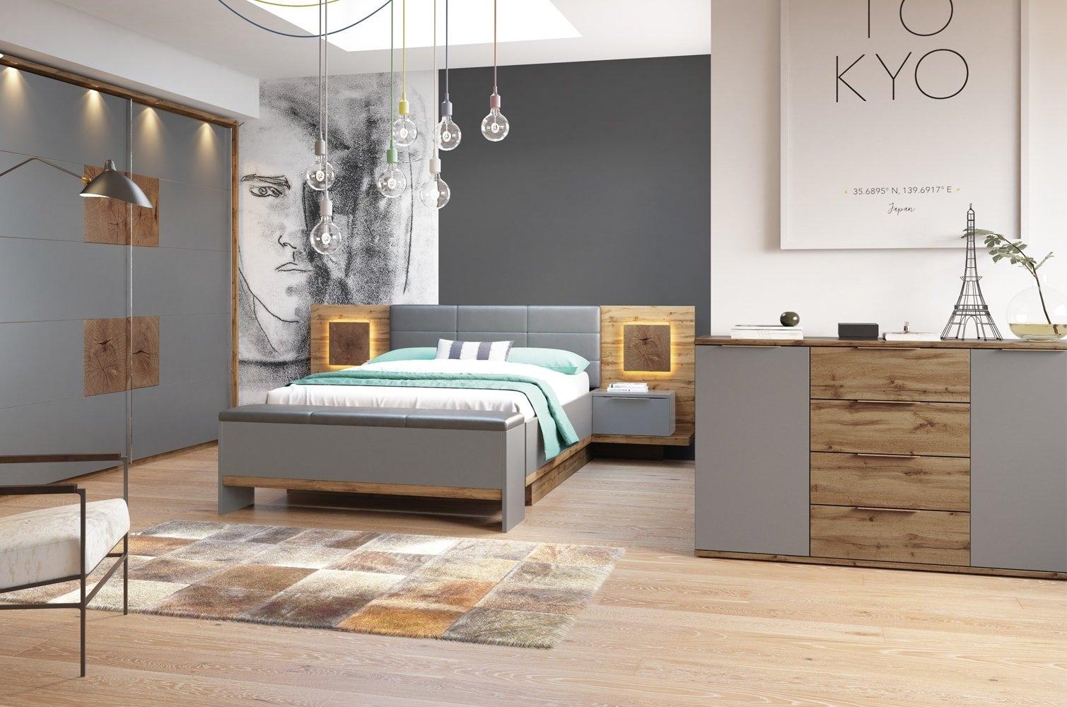 Foto Set Mobila Dormitor Stejar Gri Plus