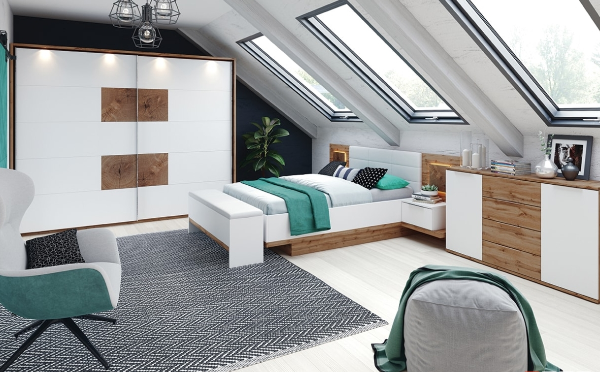 Foto Set Mobila Dormitor Stejar Alb Plus