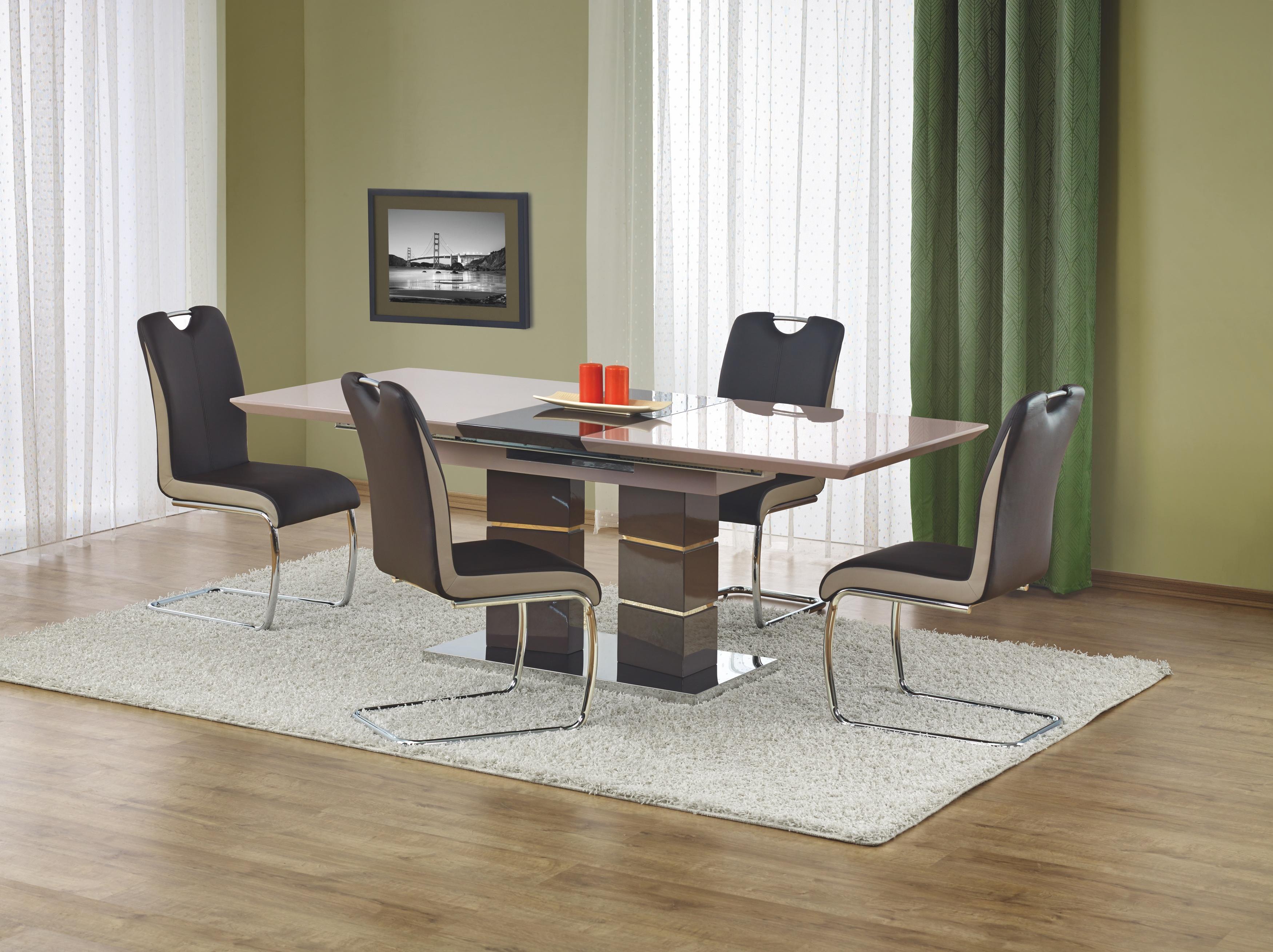 Set masa extensibila din MDF si metal Lord Light Grey + 4 scaune K184 Dark Brown, L160-200xl90xH75 cm imagine