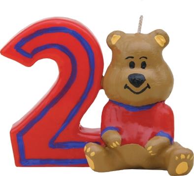 Lumanare aniversara pentru tort, Cifra 2 Ursulet Rosu poza