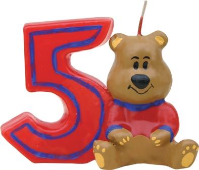 Lumanare aniversara pentru tort, Cifra 5 Ursulet Rosu imagine