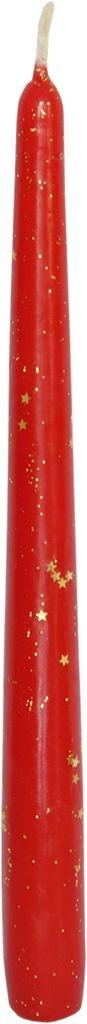 Lumanare conica Sparkle Rosu, Ø2,4xH24,5 cm poza