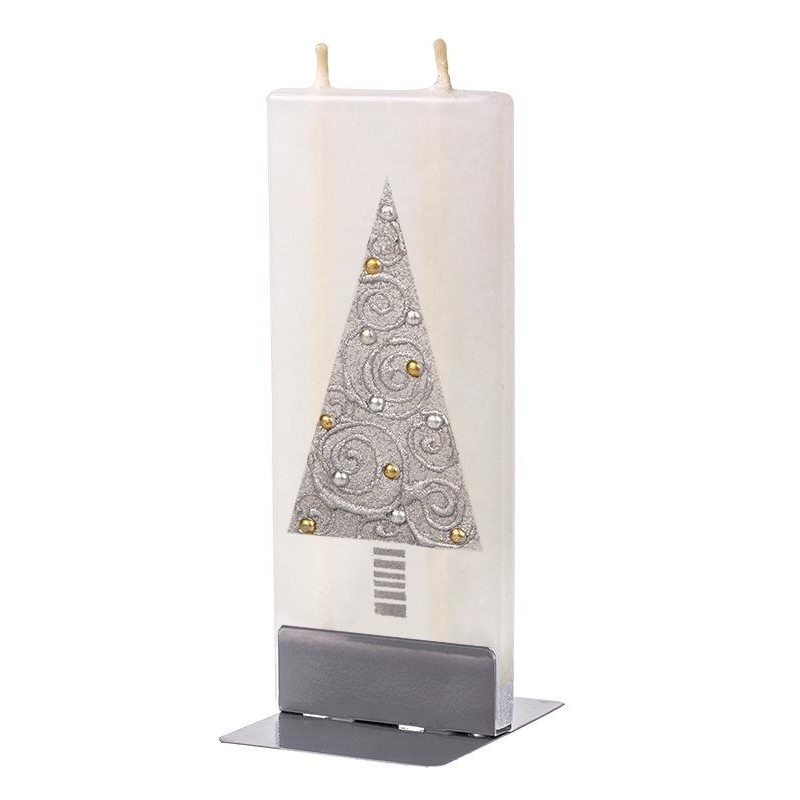 Lumanare decorativa cu 2 fitile si suport metalic inclus, Christmas Tree Alb / Argintiu, L6,1xl1xH15 cm
