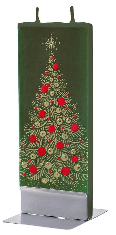 Lumanare decorativa cu 2 fitile si suport metalic inclus, Christmas Tree Verde, L6,1xl1xH15 cm