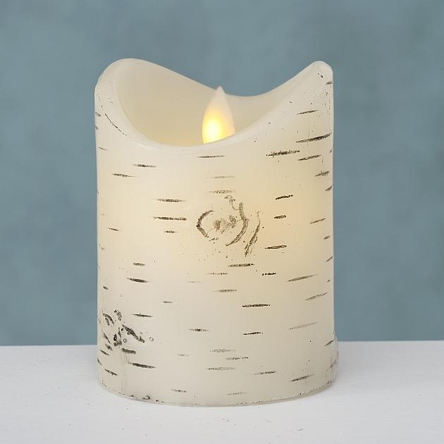 Lumanare decorativa cu LED Birke Alb, Ø8xH10 cm poza