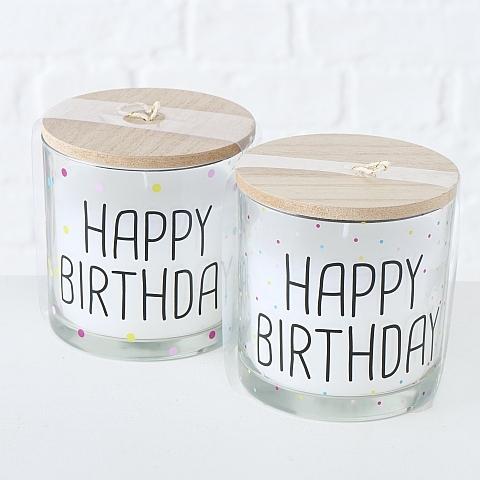 Lumanare ornamentala Happy Birthday, Modele Asortate, Ø10xH11 cm imagine