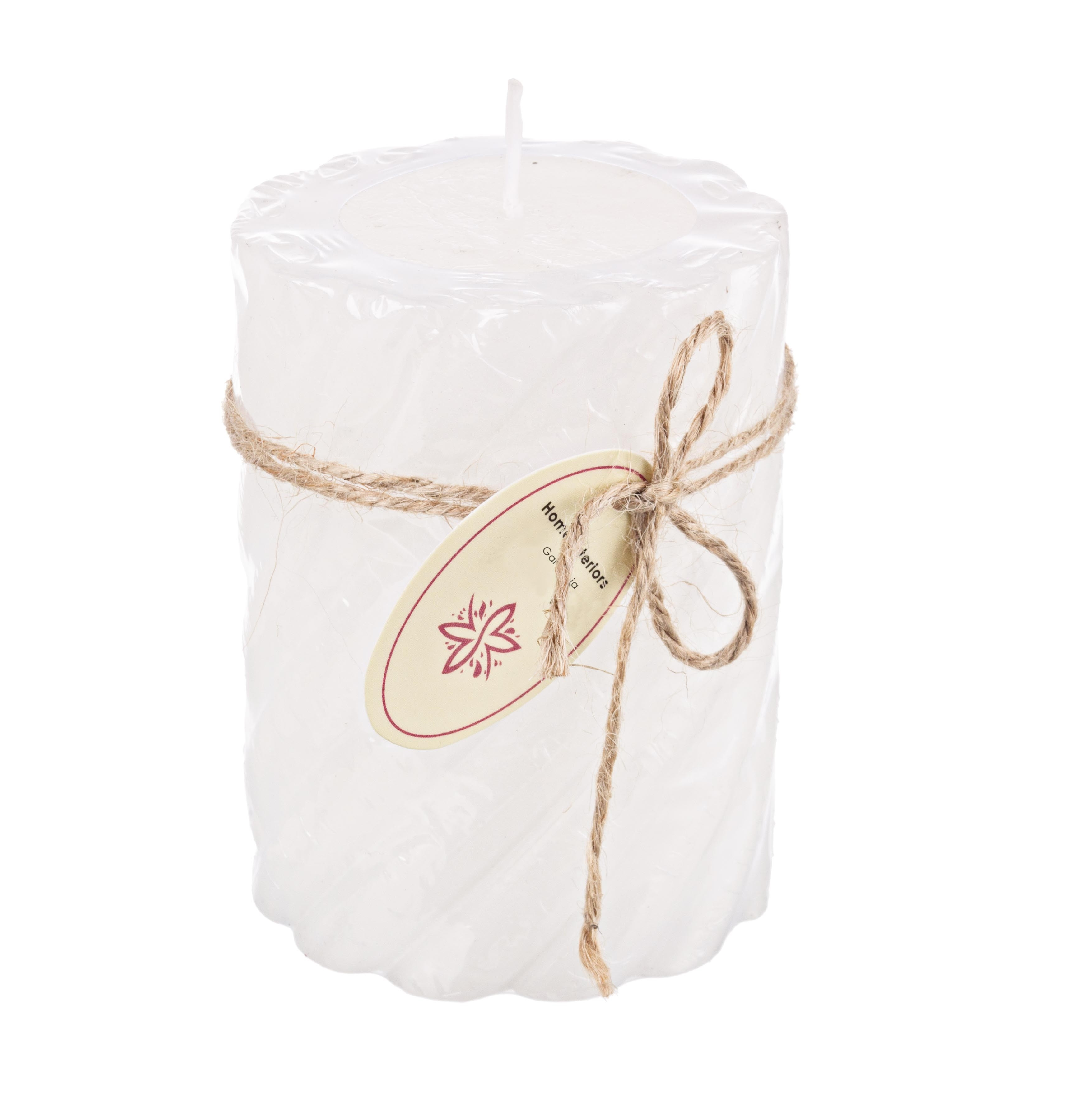 Lumanare parfumata cilindrica Rustica Twist Tall Alb, Ø7,3xH10 cm poza