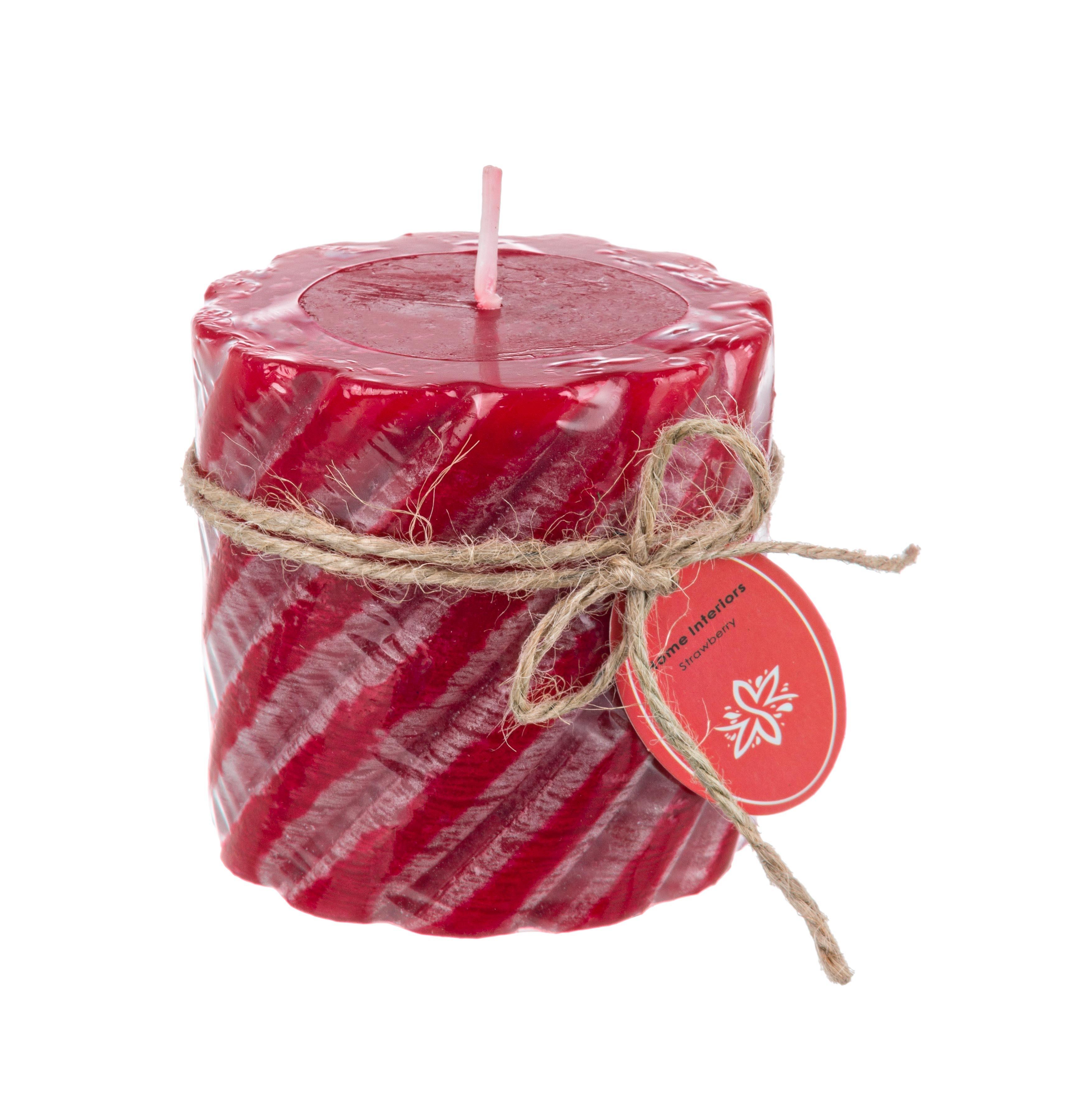 Lumanare parfumata cilindrica Rustica Twist Rosu, Ø7,3xH7,5 cm poza
