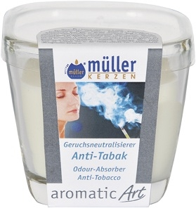 Lumanare parfumata in pahar, Aromatic Antitabac Alb, L7xl7xH8 cm imagine