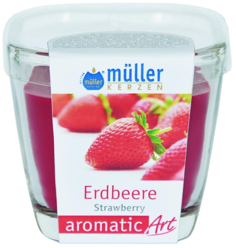 Lumanare parfumata in pahar, Aromatic Capsuni Rosu, L7xl7xH8 cm imagine