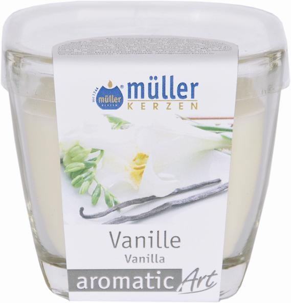 Lumanare parfumata in pahar, Aromatic Vanilie, L7xl7xH8 cm poza