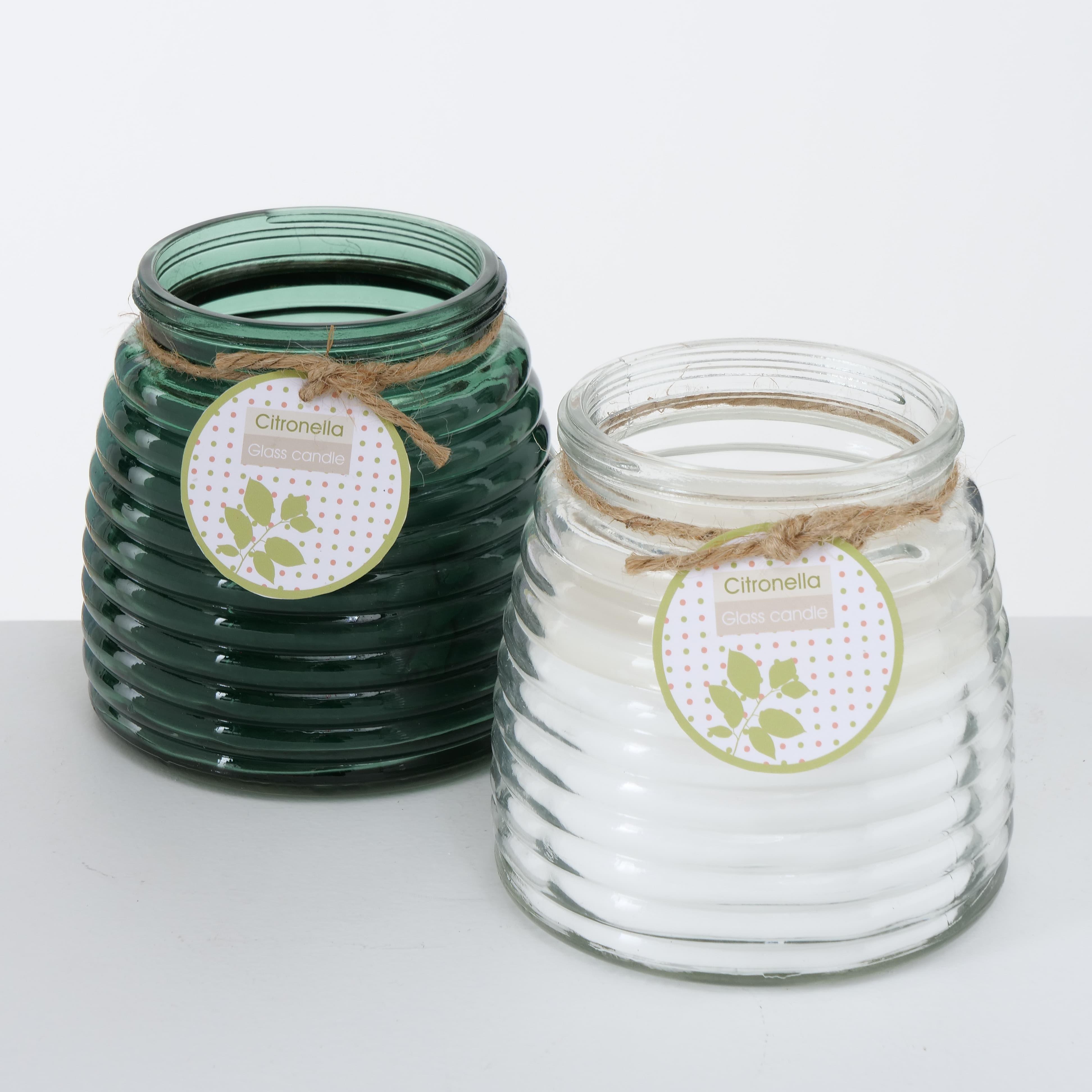 Lumanare parfumata in pahar Citronella Alb / Verde, Modele Asortate, Ø12xH13 cm